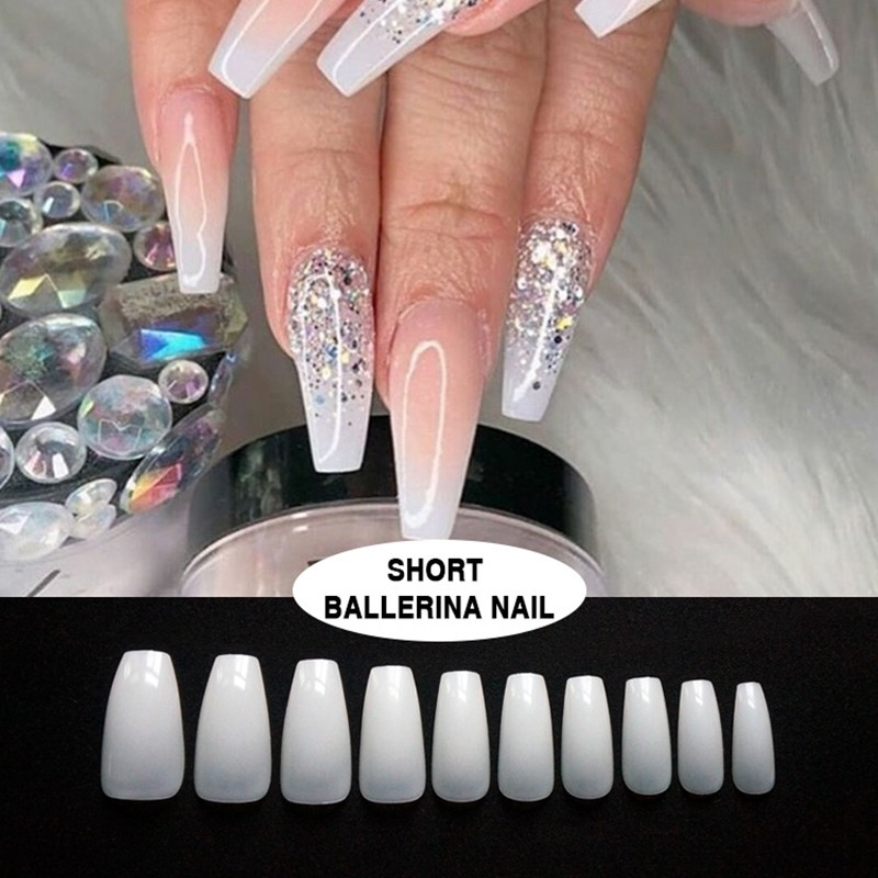 Short natural ballerina nails glam artificial nails from Newair nail factory