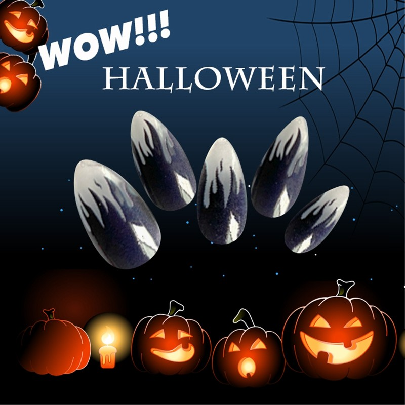 Newair Halloween Nail Stiletto False 24PCS Nail Tips