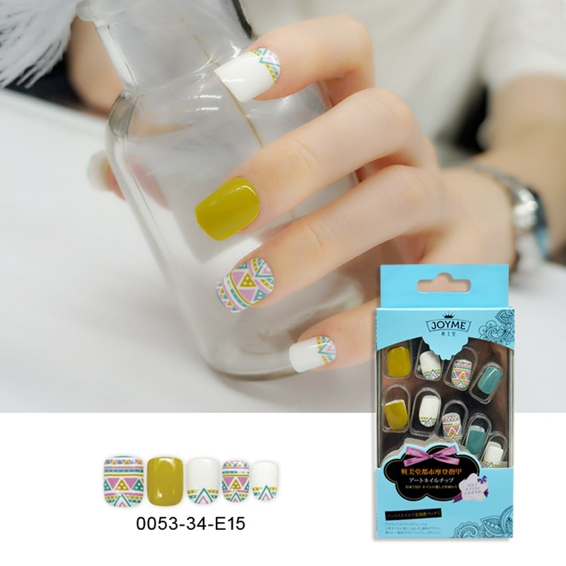 Square Ethnic Style Nail Pre-Glue Arttifical Nail 24PCS