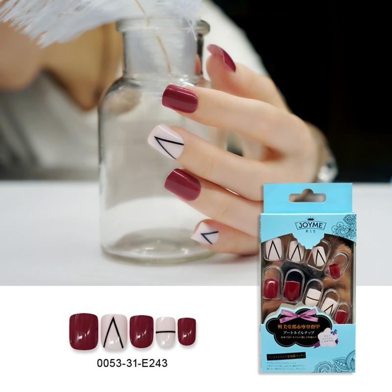 Simple Printing Mixed Solid Square Nail  Pre-Glue Artifical Nail Tips