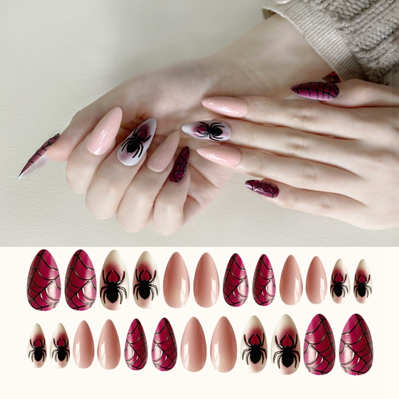 2020 Newair 3D Effect Halloween Nail Stiletto Print Nail 24PCS