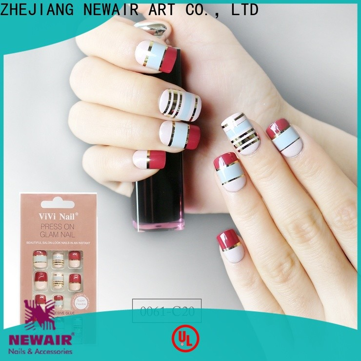Newair Fake Nails blue long fake nails customized for lady
