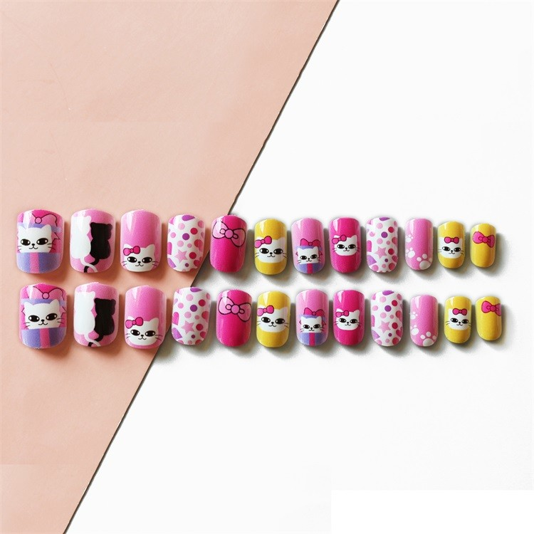 Artifical nail tips for Kid plastic square cute nail 24pcs China