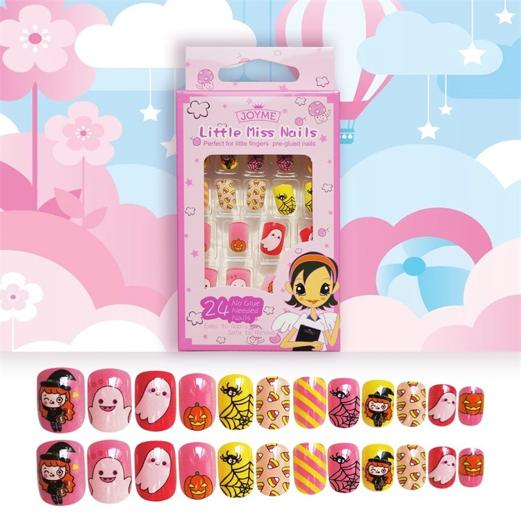 High Quality  Artifical nail tips for Kid plastic square cute nail 24pcs