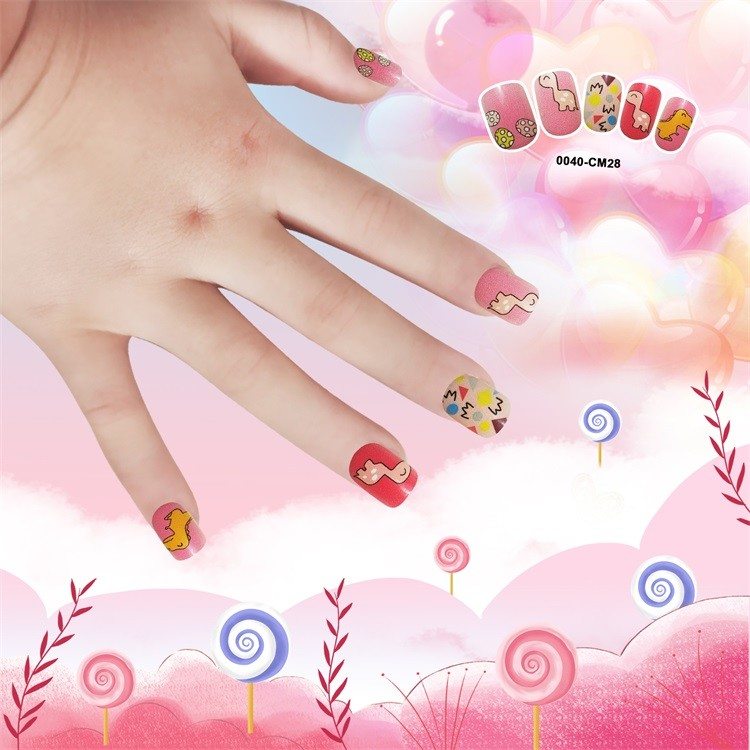 Quality  Artifical nail tips for Kid plastic square cute nail 24pcs