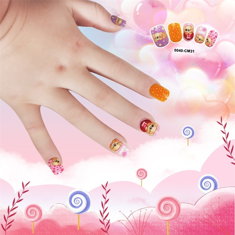 Selling Artifical nail tips for Kid plastic square cute nail 24pcs