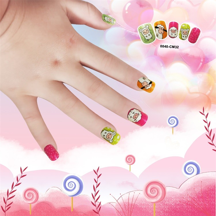 Hot Selling Artifical nail tips for Kid plastic square cute nail 24pcs