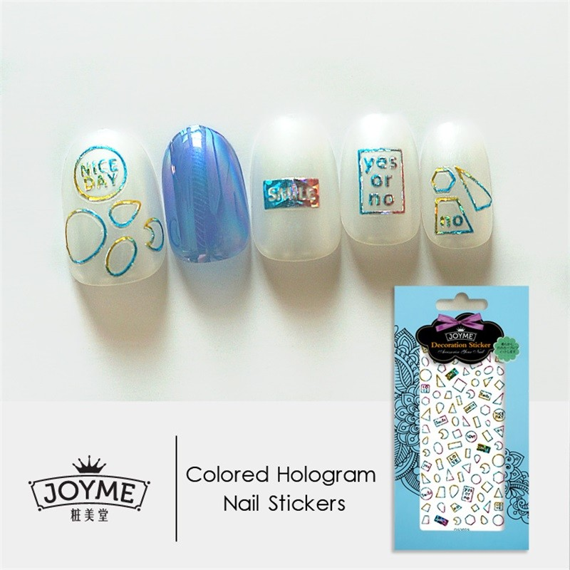 DIY colord hologram nail sticker-geometric figure
