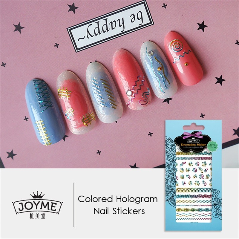 DIY colored hologram nail sticker--stripe shirt