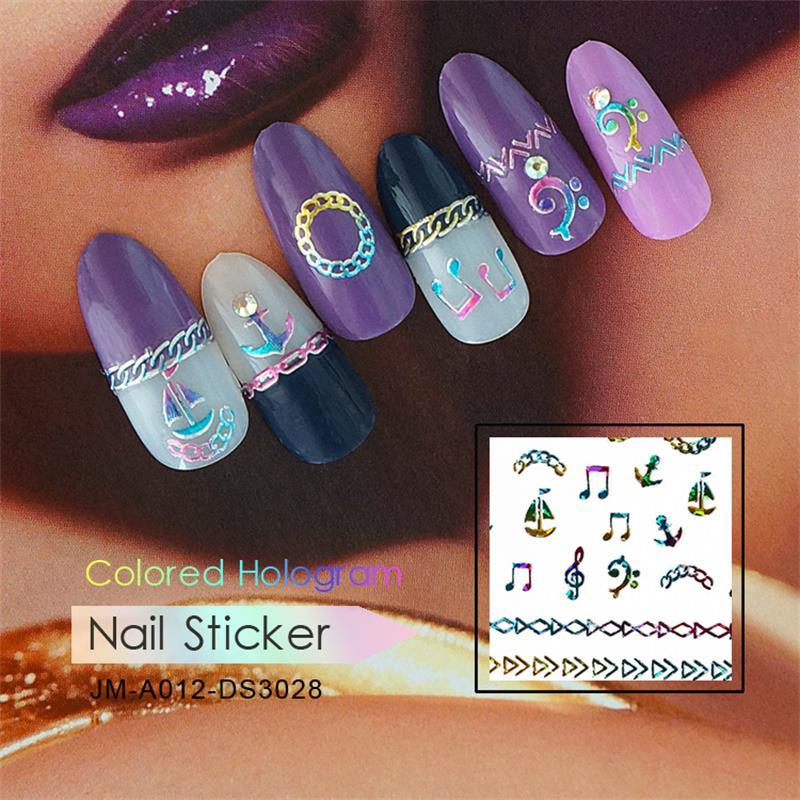 DIY colored hologram nail sticker-Navy elements