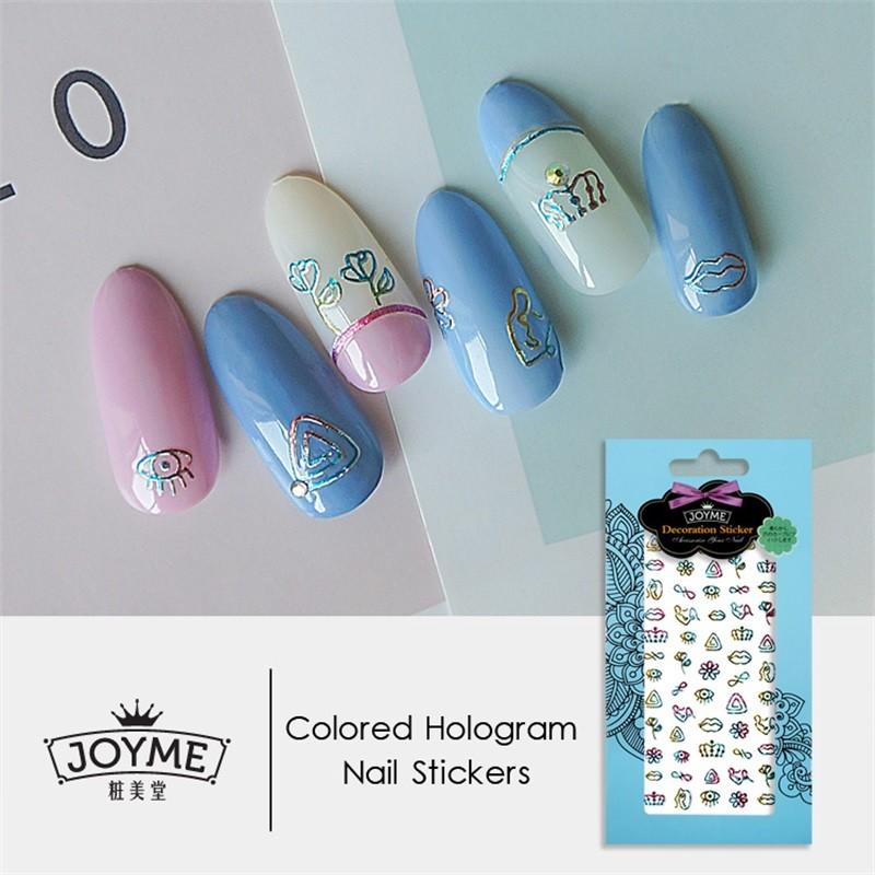 DIY colored hologram nail sticker--Spring elements