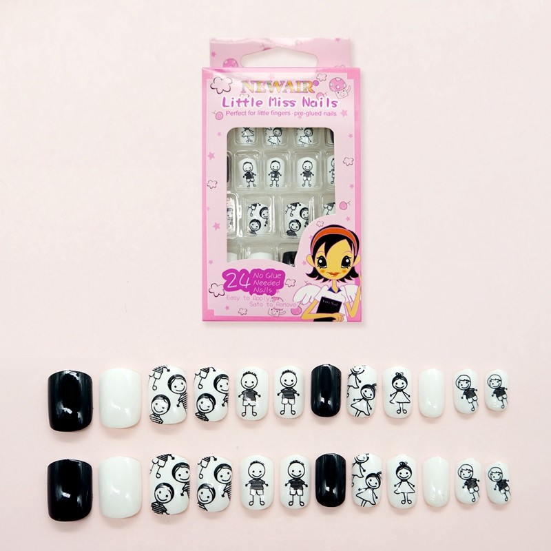 24pcs Press on Colorful Summer boy girl fake nail tips for kids
