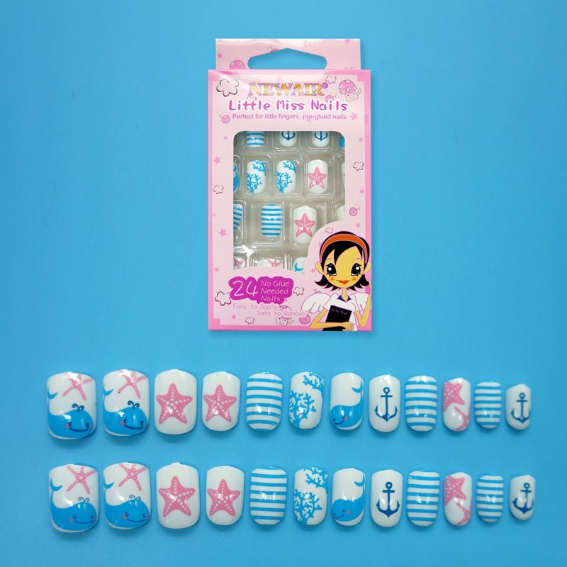 24pcs Whale & Starfish Summer false nails pre-glued for Kids