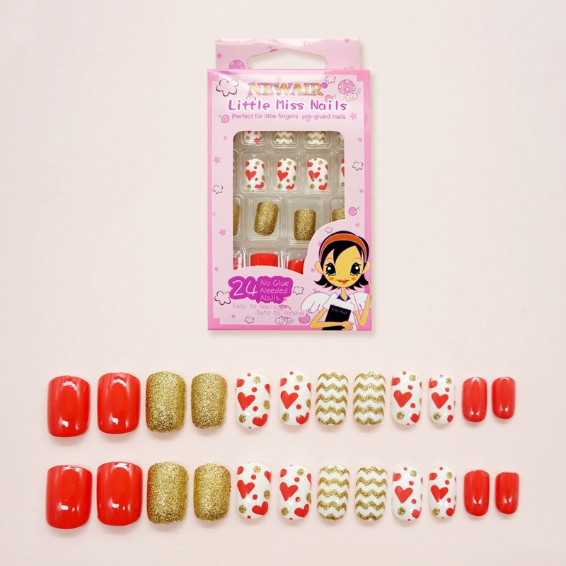 Kids Hot selling heart print Artificial Nails kids false nail tips