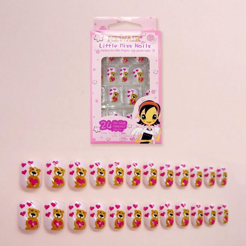 Pink Heart Design Wholesale False Nail Press On Nail Tips Fake Nails 24pcs
